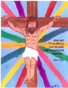 """Painting by Theresa a member of our church.    John 3:16 tells us, """"For God so loved the world, that He gave His only begotten Son, so that WHOSOEVER believeth in Him shall not perish but have everlasting life.""""  Notice in the picture how Jesus is depicted as drawing all people to Himself?  All types, all colors, all backgrounds.  As John 3:16 refers to them: """"WHOSOEVER."""""""