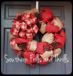 Check out this item in my Etsy shop https://www.etsy.com/listing/168984068/christmas-burlap-wreath-burlap-wreath