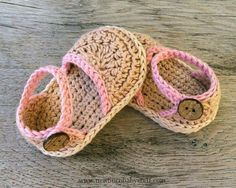Crochet Baby Booties NOA crochet baby espadrilles in light pink and beige L ...