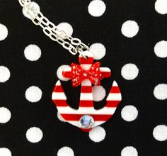 Sailor Doll Anchor Stripes & Bow Necklace  Turq by PunkUpBettie