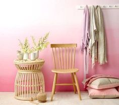 Beautiful Ombre Wall Paint Designs For Living Room 51 Pink Walls, Ombre Walls, Ombre Painted Walls, Bright Walls, Big Girl Rooms, Teen Rooms, Kids Rooms, My New Room, Wall Design