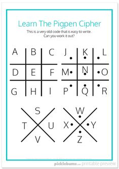 Write and decode secret spy messages with these cool secret codes for kids. Keep the kids busy making their own secret code with the free printable! Alphabet Code, Alphabet Symbols, Escape Room For Kids, Escape Room Puzzles, Ciphers And Codes, Morse Code Words, Writing Code, Coding For Kids, Printable Worksheets