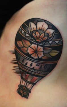 Traditional Hot Air Baloon Tattoo Idea
