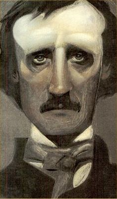 Edgar Allan Poe by Gary Kelley, caricature cartoon portrait drawing face stylized