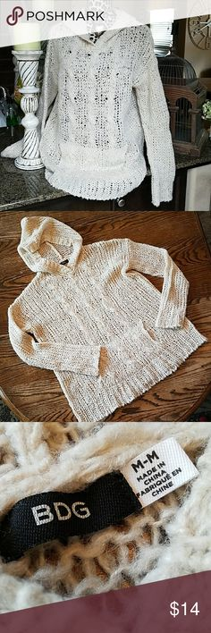 Crochet Hoodie Gorgeous acrylic and wool hoodie with large kangaroo pocket. BDG Tops Sweatshirts & Hoodies