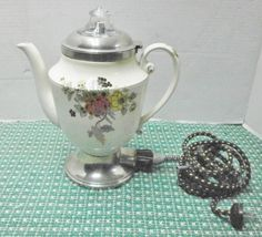 1924 Vintage Working Royal Rochester Porcelain Percolator w/ Insert & Cord E547