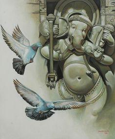 Lord Ganesha Paintings for Sale, Ganesha Art Paintings on Canvas Ganesha Pictures, Ganesh Images, Lord Krishna Images, Lord Ganesha Paintings, Ganesha Art, Sri Ganesh, Om Gam Ganapataye Namaha, Indiana, Bd Art