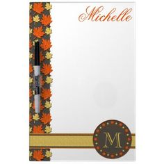 Fall Leaves Monogram Dry-erase Whiteboards by expressyoursoul