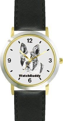 Boston Terrier (SC) Dog - WATCHBUDDY® DESIGNER DELUXE TWO-TONE THEME WATCH - Arabic Numbers-EVENING TWILIGHT STYLE - Gray Dial with Black Leather Strap-Children's Size-Small ( Boy's Size & Girl's Size ) WatchBuddy. $49.95