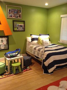 Crafty Mama Crafty Mama Serena and lily Big boy room Green, navy, white, orange Big letter