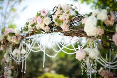 White and Gold Wedding. Floral & Pearl Draped Archway