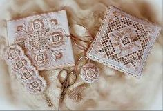 Stitch this elegant 4-piece set with needle book, pincushion, scissors fob, and bookmark with Mamens detailed instructions.   Every lady should have a set as lovely as this one in peach. The set includes a needlebook, bookmark, scissors fob, and pincushion. The stitch counts are: Pincushion, 304 x 304 #stitching #needlework #embroidery
