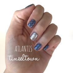 Color Street nail strips mixed manicure with Atlantis and Tinseltown. Best manicure ever. 100% nail polish. Zero dry time. No tools or heat required. #colorstreet #colorstreetnailstrips #nailstrips #atlantis #tinsletown #nailpolish #polish #nails #diynails #mermaidnails