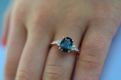 Teal sapphire engagement ring. Peacock green sapphire 2.33ct oval diamond ring 14k Rose gold. Campari Engagement ring by Eidelprecious. by EidelPrecious on Etsy https://www.etsy.com/listing/588960271/teal-sapphire-engagement-ring-peacock