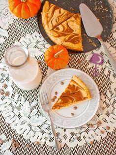 Greek Yogurt Pumpkin Cheesecake with a Chocolate Cinnamon Swirl | 23 Decadent Greek Yogurt Desserts To Nom On All Summer