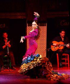 Flamenco Dress: Bata de cola, jewel colours, ruffles, volantes Flamenco Dancer, Madrid by Tjandra Suyanto