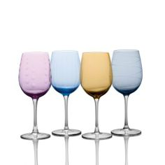 Mikasa Cheers Color White Wine Glasses, Set of 4 by Wallace Silversmiths - DROPSHIP. $57.94. Features 4 assorted designs. Set of 4 white wine glasses. Dishwasher safe. Makes a great gift with beautiful array of colors. Brilliant quality with etched designs. Cheers glassware is fun and whimsical and our cheers pastel adds a bit of color to the whimsy. Make a statement for a formal or casual setting when you offer these colorful glasses in their fun designs or mix and match these ...