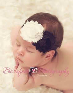 Baby Headband..Baby Girl ivory and black by whisperbugboutique