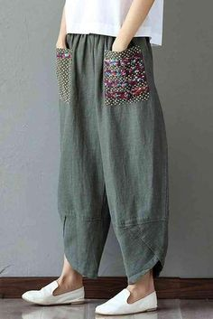 Women's Patchwork Wide Leg Linen Pants Trousers with Big Pockets