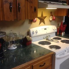 Little things to spruce up old appliances.  Painted items used Annie Sloan paint.