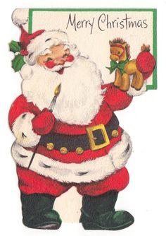 Vintage Greeting Card Christmas Santa Claus Painting Horse Toy Die-Cut Hallmark