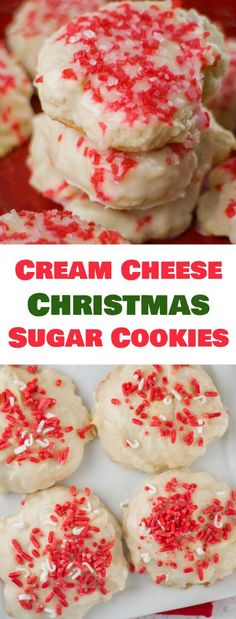 These Christmas Sugar Cookies are so soft because they are made with cream cheese! Dip each cookie into vanilla glaze and then top with festive sprinkles! Recipe makes 48 cookies. (cream cheese cookies christmas)