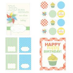 Love this printable party collection! Vintage pinwheels & cupcakes!