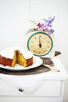 Ein Rezept für Süsskartoffelkuchen, wirklich wahr! Mit Walnüssen. Und Orangenfrischkäsecreme - Zucker, Zimt und Liebe