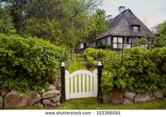 House With Thatched Roof In The Village Sieseby In Schleswig ...