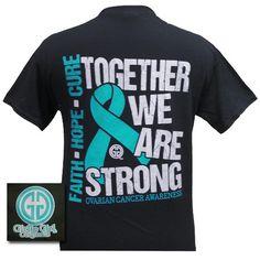 Girlie Girl Originals Hope Faith Cure Ovarian Cancer Awareness Bright T Shirt
