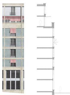 Detaljsnitt med tilhørende fasadedetalj