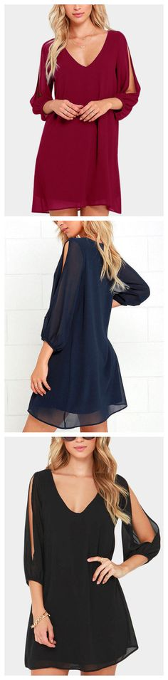 When it's time to shift your gears into glamor mode, the Shifting Dears Navy Blue Long Sleeve Dress is our most dearly beloved dress! Navy blue chiffon forms a roomy shift silhouette with a deep, scoop neckline and a flared shape that flows into an asymmetrical, concave hemline. Long, sheer sleeves have on-trend, cold shoulder cutouts that open all the way to the cuffs.