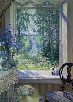 NIKOLAI BOGDANOV-BELSKY (1868-1945) Open window onto a garden