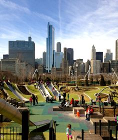 Maggie Daley Park is in downtown chicago. the park and the city is connect by another park and a bridge. I think it's a interesting urban design. Park Playground, Playground Design, Outdoor Playground, Landscape Architecture, Landscape Design, Backyard Ideas For Small Yards, Sport Park, Chicago Travel, Urban Park