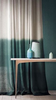 A quick look at how ombré fabrics are proving popular for designer curtains, almost sheers with examples from Casamance, Romo Black, and Designers Guild. Dip Dye Curtains, Curtains With Blinds, Ombre Curtains, Linen Curtains, Curtain Fabric, Two Tone Curtains, Interior And Exterior, Interior Design, Home Deco
