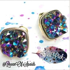 ♠️HP♠️ Druzy Blue & Purple Gold Earrings Druzy Blue & Purple Gold Stud Earrings   Stimulated Druzy stones with 14k gold alloy metals. Absolutely gorgeous! Wila Jewelry Earrings
