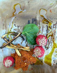 Selinas Ekologiska Meze. Beetroot Falafel with home made chili chickpea chips