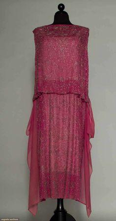 Augusta Auctions, March 30, 2011 - St. Pauls, Lot 367: Beaded Rose Chiffon Flapper Dress
