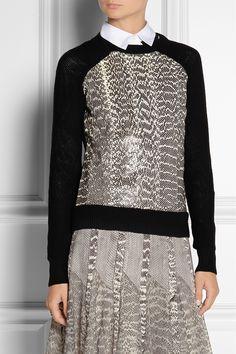 Jason Wu Elaphe-paneled wool sweaterand skirt