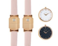 Pack of woman watches with a nude strap and 2 cases - one with white dial and one with black dial #guillotwatches #maisonguillot #timetochange #timetohavefun #timetobeyourself #wristwatch #doublestrap #watchforwomen #nudewatch #whitedial   #blackdial #pinkstrap #goldpinkcase #nude #white #goldpink #swissmade #savoirfaire #luxury #interchangeable #modular #fashionaccessory #parisian #elegance #watchaddict #borninparis Woman Watches, Double S, Or Rose, Parisian, Fashion Accessories, Cases, Bracelet, Luxury, Gold