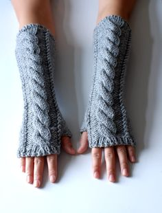 hand knit whole wool long arm wrist warmers fingerless chunky cabled mittens warm gift grey gray women men girl boy children toddler unisex. $32.00, via Etsy.