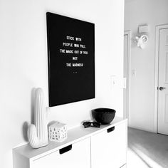 (@vee.zel) on Instagram: Scandinavian decor | Nordic inspiration | Black and white | Monochrome | Minimalism | Minimalist decor | Home decor | Ikea | Entry | Entryway | Entry decor | Shoe cabinet | Cacti | Kähler Omaggio | Letter board