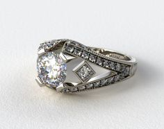 Platinum Geometric Inspired Diamond Engagement Ring #art #deco #ring
