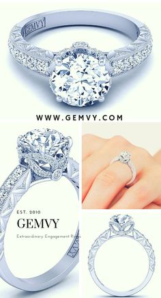 Discover The Beauty Of Vintage Engagement Rings Round Diamond Engagement Rings, Three Stone Engagement Rings, Perfect Engagement Ring, Designer Engagement Rings, Vintage Engagement Rings, Diamond Gemstone, Beautiful Rings, Fine Jewelry, Jewellery