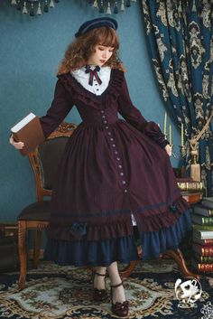 Extra Chance To Preorder 【The Florentine Traveller】 Classic Lolita OP Dress ◆ Only 3 Dresses Available >>>. Kawaii Fashion, Lolita Fashion, Cute Fashion, Estilo Lolita, Pretty Outfits, Pretty Dresses, Cute Outfits, Old Fashion Dresses, Fashion Outfits