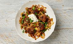 The tangy twist: Yotam Ottolenghi's pork meatballs with caramelised cabbage.and other Pork recipes such as Thai . Meze Recipes, Lamb Recipes, Meatball Recipes, Asian Recipes, Cooking Recipes, Recipies, Ottolenghi Recipes, Yotam Ottolenghi, Middle Eastern Dishes