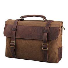 Canvas Leather Laptop Messenger Handbag Briefcase  men shoulder business bags #leathermessengerbag #MessengerShoulderBag