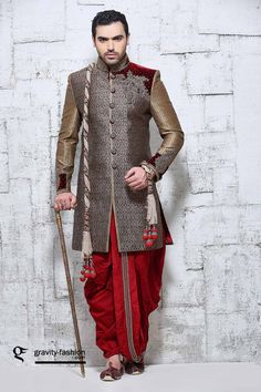 classic rich wedding sherwani for 2015 & 2016 Sherwani Groom, Wedding Sherwani, Punjabi Wedding, Pakistani Bridal, Indian Men Fashion, India Fashion, Men's Fashion, Groom Outfit, Groom Dress