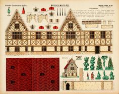 House of the Middle Ages paper model. Reprint of an original antique Grandes Constructions from Pellerin's Imagerie D'Epinal. Printed on card stock.