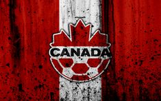 Download wallpapers Canada national football team, 4k, emblem, grunge, North America, football, stone texture, soccer, Canada, logo, North American national teams